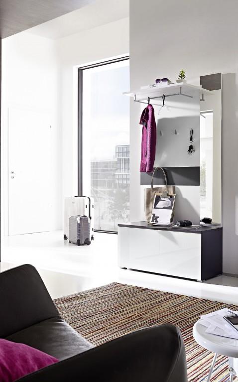 2 tlg garderobe paneel schuhbank ca 12 paar garderobe schrank glasfront spiegel diele flur. Black Bedroom Furniture Sets. Home Design Ideas