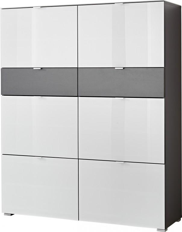 3 tlg garderobe paneel schuhbank schuhschrank ca 57 paar glasfront spiegel diele flur. Black Bedroom Furniture Sets. Home Design Ideas