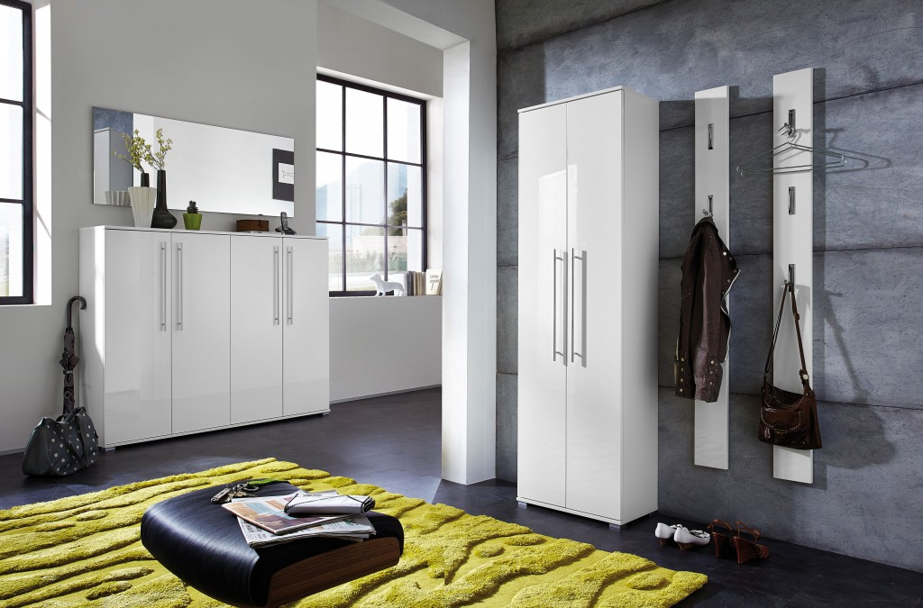 flurgarderobe hochglanz garderobe paneel wandgarderobe garderobenpaneel wei metall chrom diele. Black Bedroom Furniture Sets. Home Design Ideas