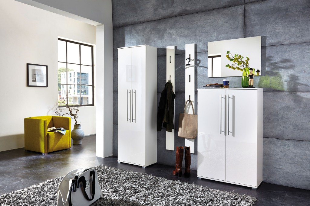 schuhschrank kommode garderobe highboard schrank lack wei diele flur garderobe garderoben. Black Bedroom Furniture Sets. Home Design Ideas