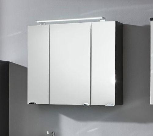 Bad spiegelschrank inkl led beleuchtung 80 cm anthrazit - Spiegelschrank bad 80 cm ...