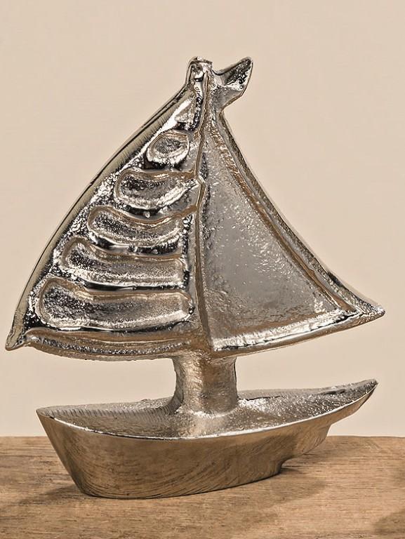 2er set skulptur boot silber schiff meer strand bad. Black Bedroom Furniture Sets. Home Design Ideas