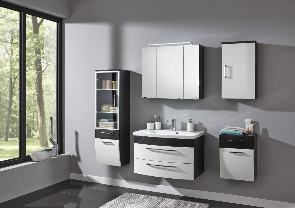Badezimmer Waschplatz Hochglanz Bad Waschtisch Badmöbel 5869   99 Weiß  Anthrazit Mineralgußbecken