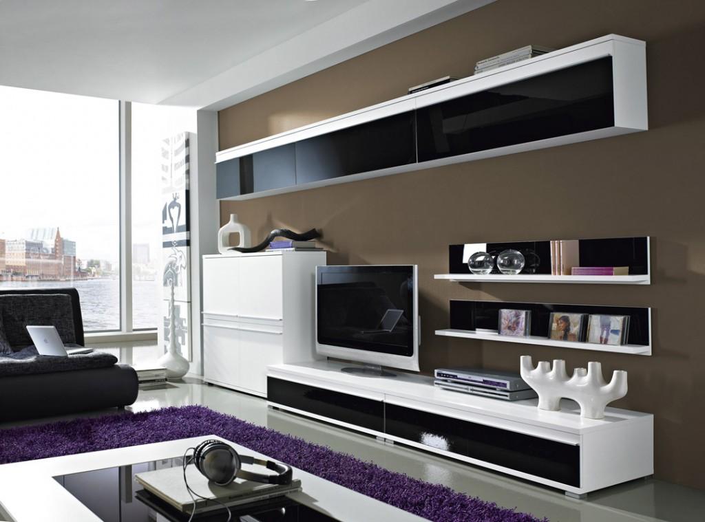 steel wohnzimmer-möbel-programm 8-tlg. in weiß / schwarz - mit ...