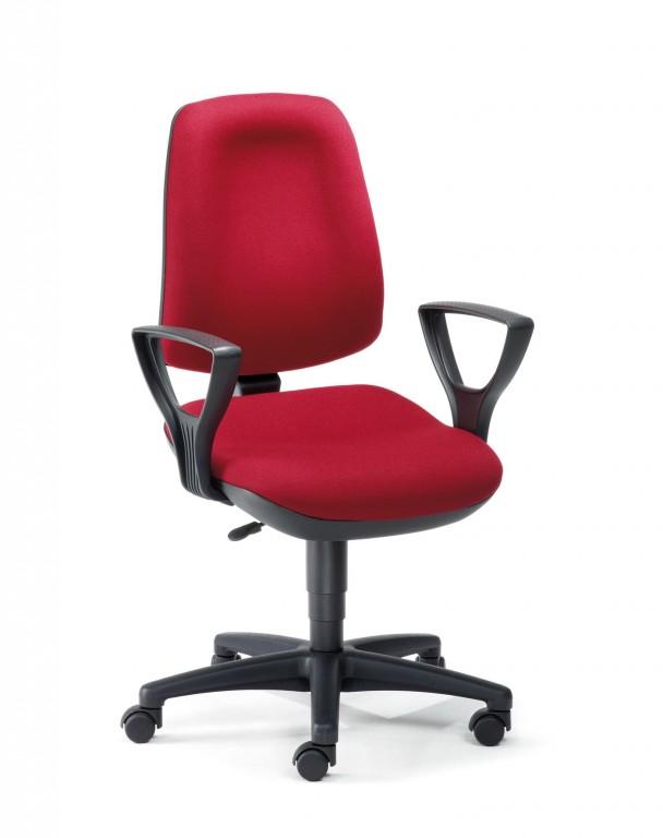 mayer basis line drehstuhl mit armlehne und bandscheibensitz in schwarz rot arbeitszimmer. Black Bedroom Furniture Sets. Home Design Ideas