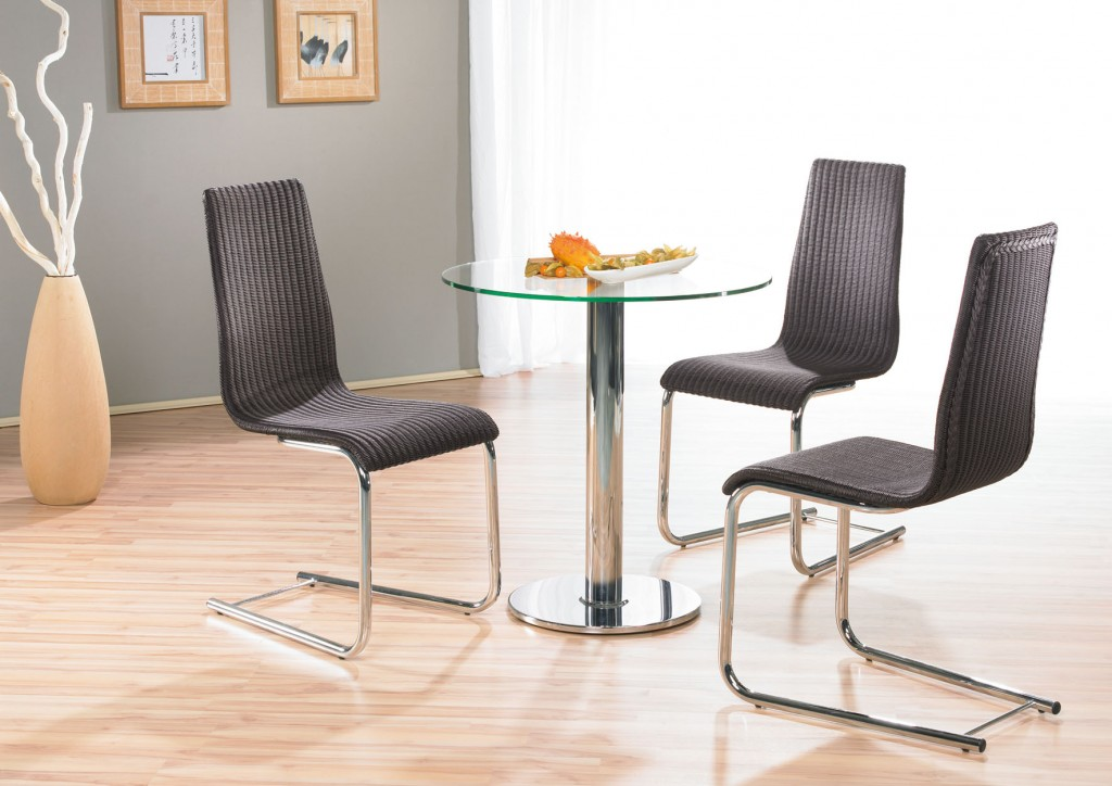 mayer 3026 bistrotisch e tisch metall chrom klarglas glas satiniert rund 70 cm ebay. Black Bedroom Furniture Sets. Home Design Ideas