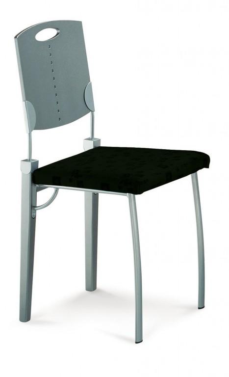 Mayer 2132 Design-Stuhl / Speisezimmerstuhl perlsilber / schwarz / edelstahl