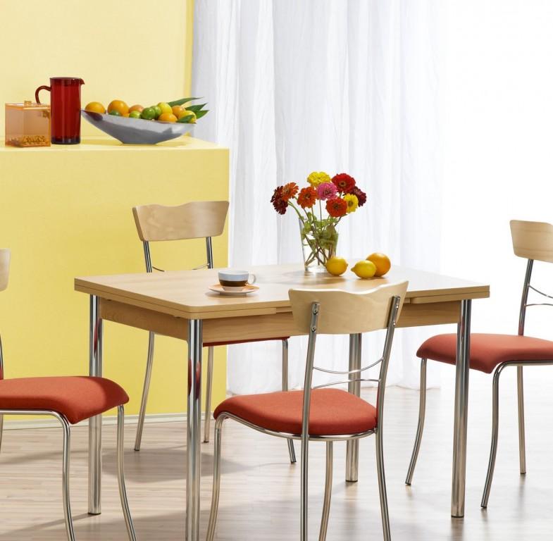 Mayer 3163 Tisch / Küchentisch / Esszimmerstisch mit Auszug in chrom / buche