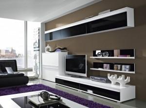 steel wohnzimmer-programm 8-tlg. in weiß / schwarz mit glas ... - Bilder Wohnzimmer Schwarz Weiss