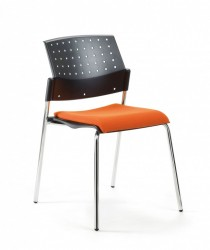 Mayer Profi Office 2576 Stapelstuhl in chrom / schwarz / orange