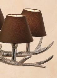 kronleuchter geweih braun silber 5 arm schirmchen geweihlampe deckenlampe neu ebay. Black Bedroom Furniture Sets. Home Design Ideas