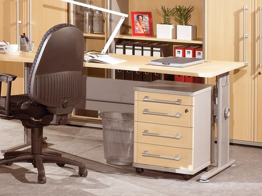 pro b ro schreibtisch h henverstellbar in ahorn silber. Black Bedroom Furniture Sets. Home Design Ideas
