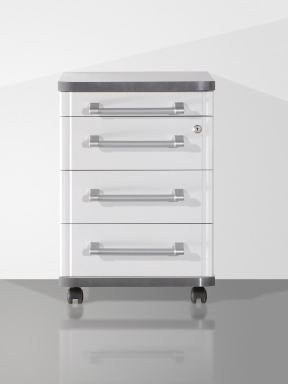 Rollcontainer metall praxis  Pro Büro-Rollcontainer in Licht-grau, abschließbar 42 x 60 x 48 ...