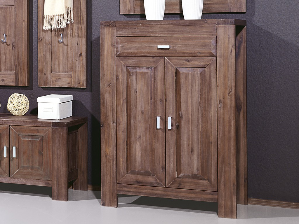 kommode f r garderobe akazie massiv lava 80 x 114 x 40 ebay. Black Bedroom Furniture Sets. Home Design Ideas