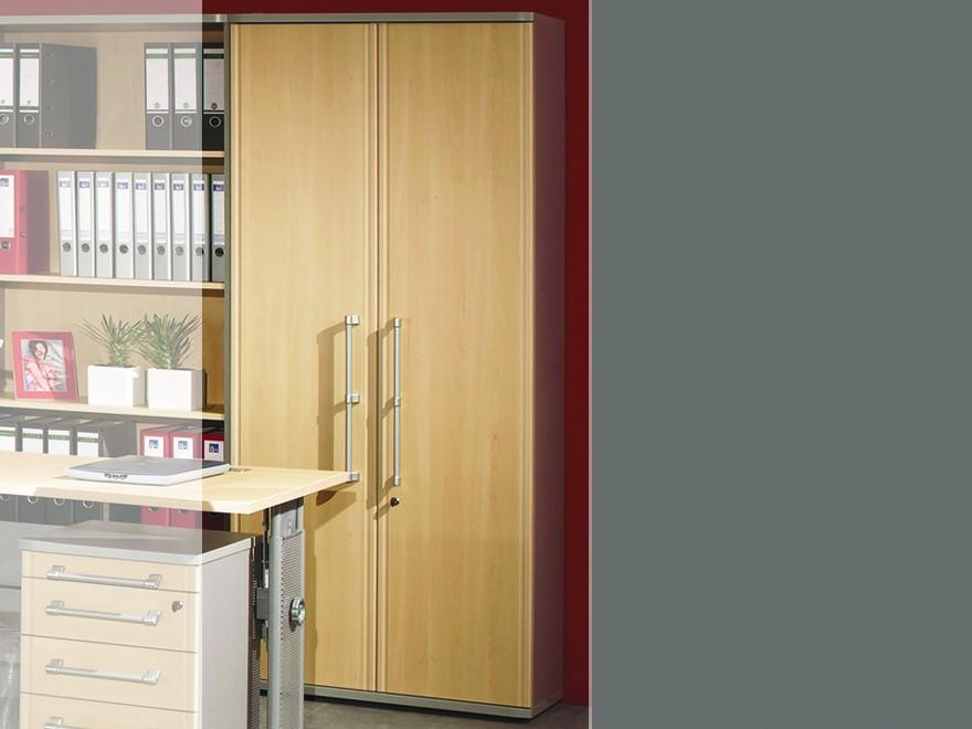 Pro Büromöbel-Set komplett 11-tlg. in Ahorn / silber Arbeitszimmer ...
