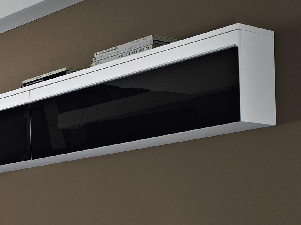 Wohnzimmer Wohnwand 8-tlg. KommodeTV Board Hängeschrank weiß schwarz ...