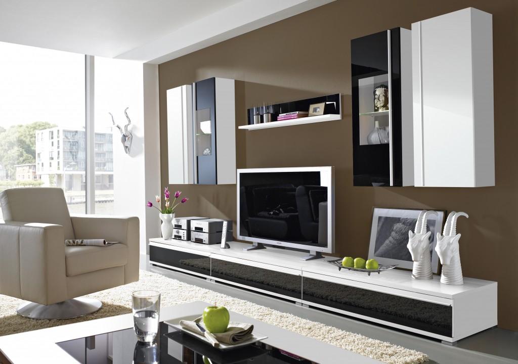 Steel Wohnzimmer-Programm 8-tlg. in weiß / schwarz mit Glas ...