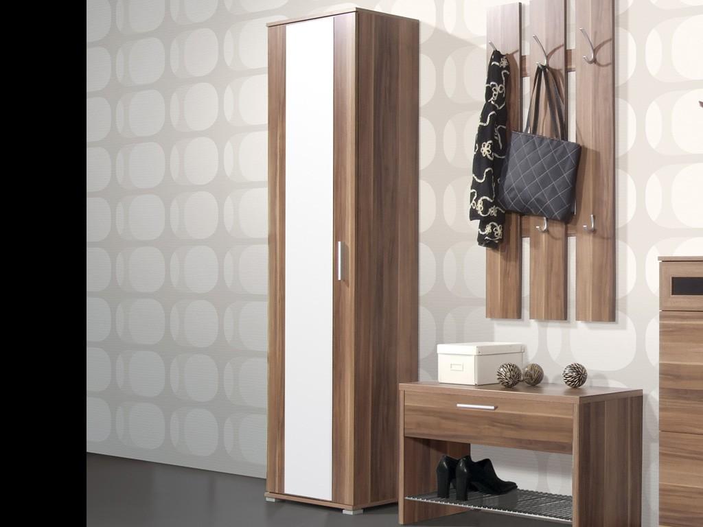 prima kleiderschrank f r garderobe in walnuss 55 x 200 x 35 diele flur garderobe garderobe. Black Bedroom Furniture Sets. Home Design Ideas