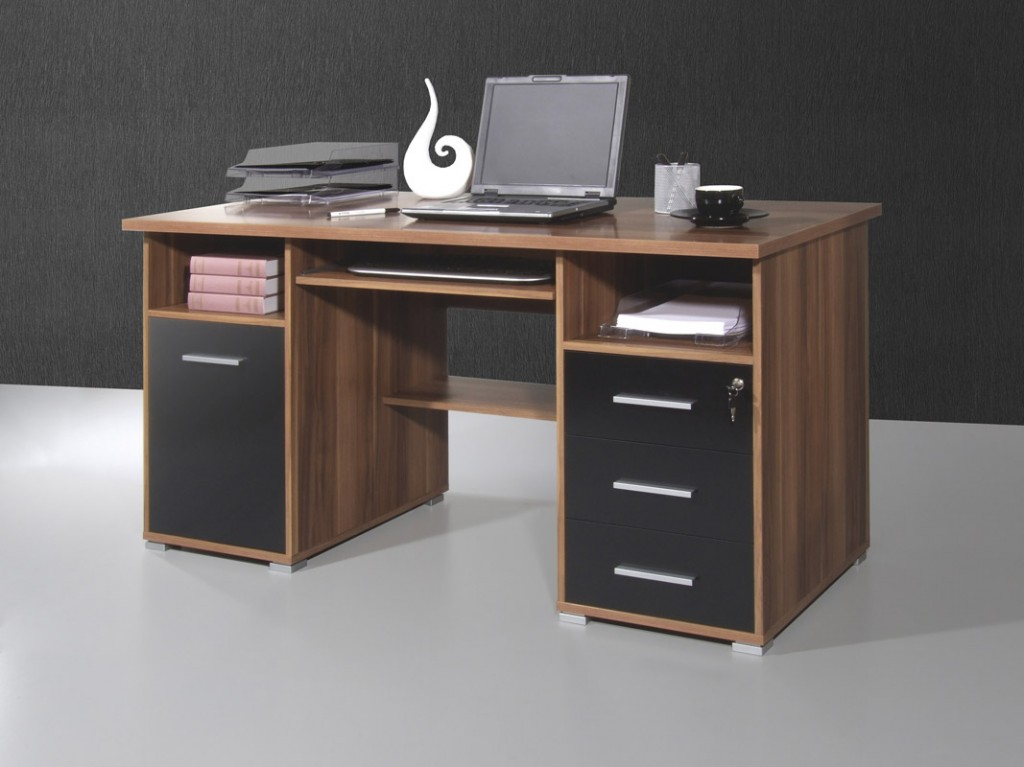 conni pc computer schreibtisch in walnuss schwarz 145 x. Black Bedroom Furniture Sets. Home Design Ideas