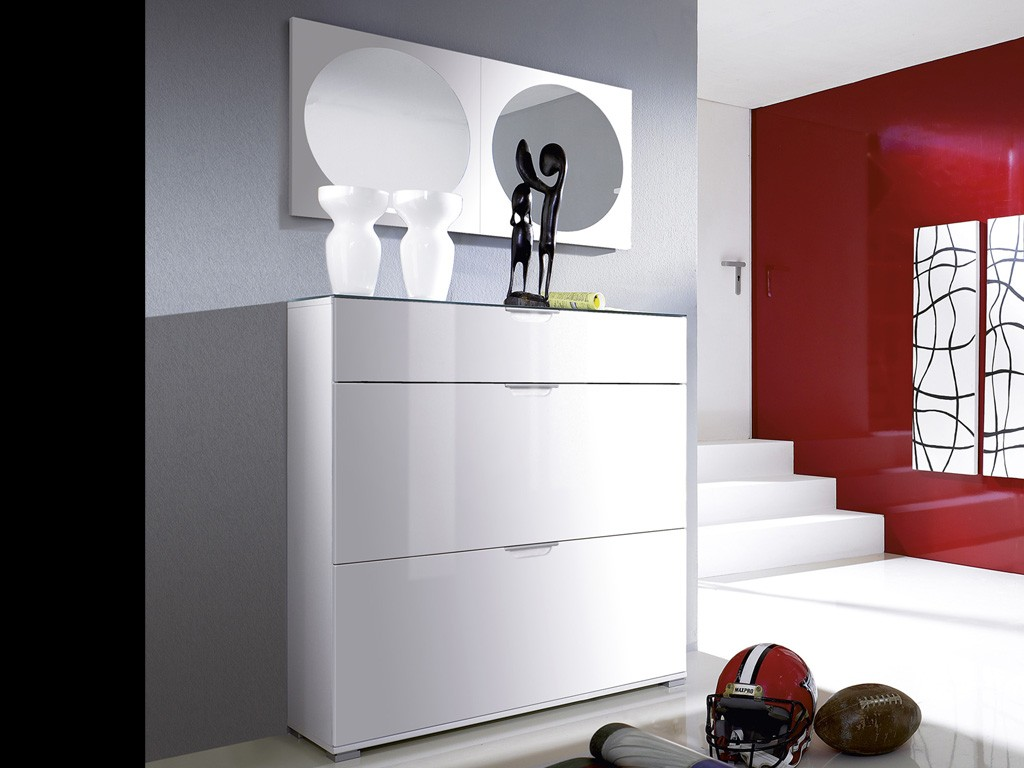 kalifornien schuhschrank spiegel weiss hochglanz 3 tlg ebay. Black Bedroom Furniture Sets. Home Design Ideas