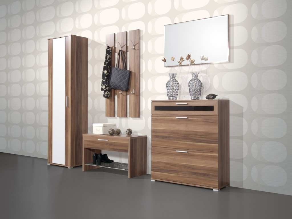 triest spiegel f r garderobe diele flur in walnuss 90 x 55 x 4 diele flur garderobe. Black Bedroom Furniture Sets. Home Design Ideas