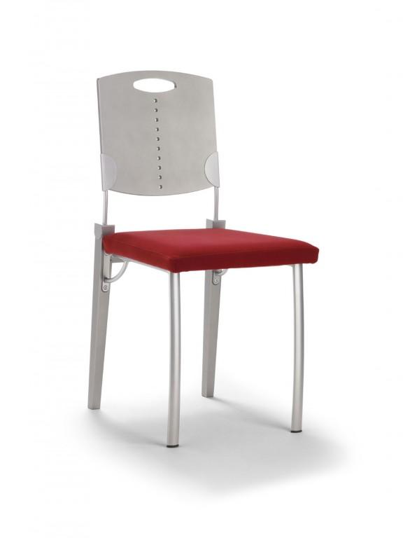 Mayer 2132 Stuhl / Esszimmerstuhl in edelstahl / rot 42 x 87 x 40