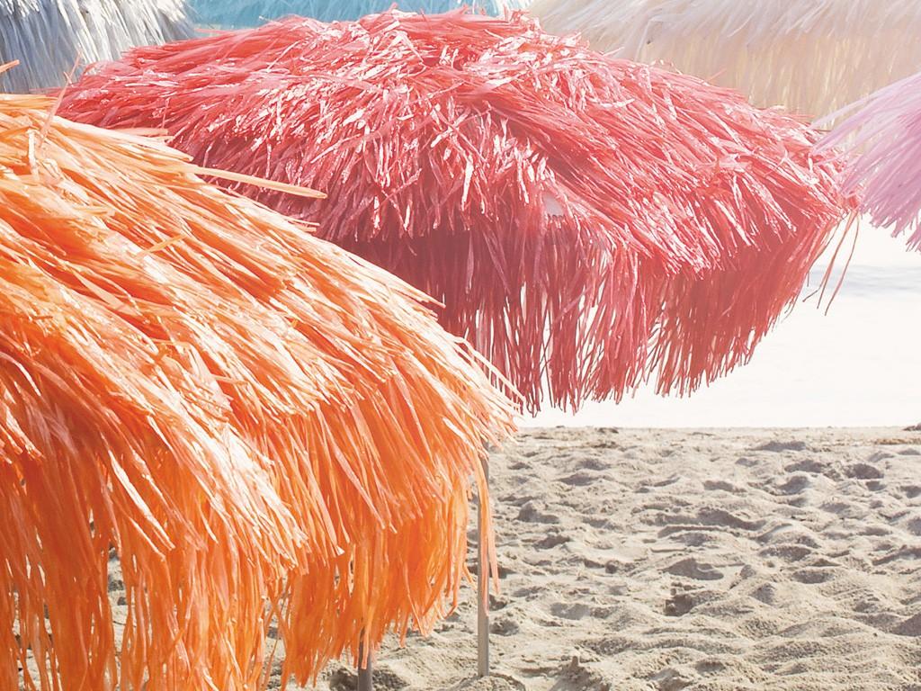 jan kurtz hawaii sonnenschirm mit knickgelenk natur wei orange pink garten outdoor. Black Bedroom Furniture Sets. Home Design Ideas