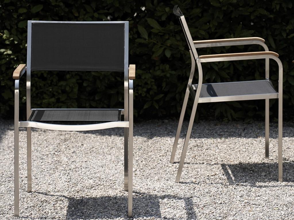 jan kurtz lux outdoor sessel edelstahl teak schwarz. Black Bedroom Furniture Sets. Home Design Ideas