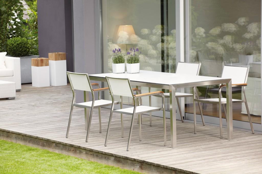 jan kurtz lux outdoor sessel edelstahl teak schwarz oder wei 4 er set garten outdoor. Black Bedroom Furniture Sets. Home Design Ideas