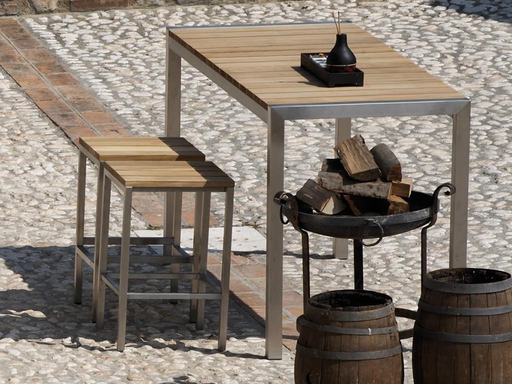 Jan kurtz luxury outdoor tresen tisch in edelstahl teak for Finestra 90 x 130