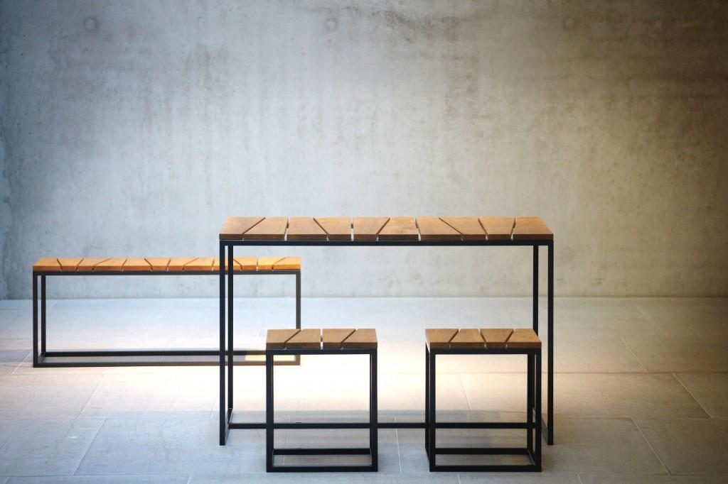 Jan Kurtz ALOIS Garten-Set - 2 Hocker, Bank, Tisch in Robinie ...