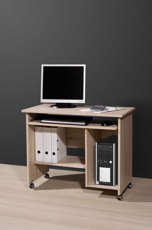Sonoma Eiche Computertisch : B?rotisch PC Tisch Computertisch auf Gummi Laufrollen in Sonoma Eiche