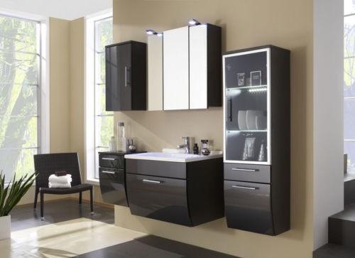 design badezimmer badm bel badezimmerm bel waschtisch hochglanzfront anthrazit 5tlg neu bad m bel. Black Bedroom Furniture Sets. Home Design Ideas