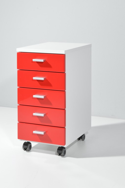 b ro rollcontainer hochglanz front wei schwarz gr n rot. Black Bedroom Furniture Sets. Home Design Ideas