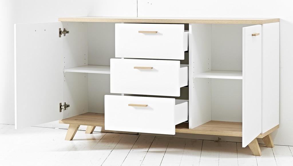 kommode anrichte sideboard norway 2 t ren und 3 schubladen. Black Bedroom Furniture Sets. Home Design Ideas