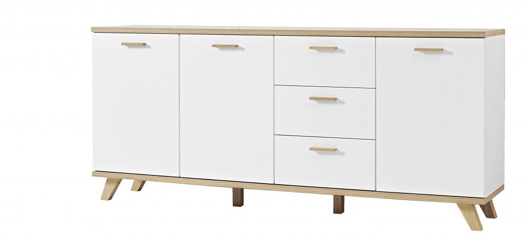 kommode anrichte sideboard norway 3 t ren und 3 schubladen in wei eiche 196 x 87 x 40 diele. Black Bedroom Furniture Sets. Home Design Ideas