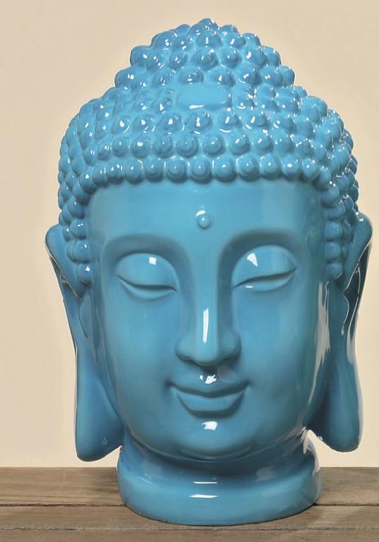 buddhakopf deko gartendeko buddha feng shui geschenk statue blau gr n ebay. Black Bedroom Furniture Sets. Home Design Ideas