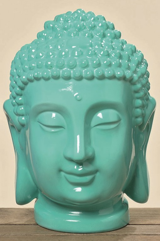 buddhakopf deko gartendeko buddha feng shui geschenk statue blau gr n ebay. Black Bedroom Furniture Sets. Home Design Ideas