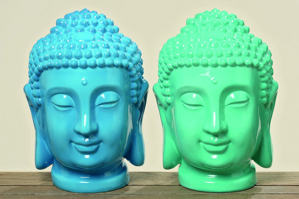buddhakopf deko gartendeko buddha feng shui geschenk statue blau gr n sparset. Black Bedroom Furniture Sets. Home Design Ideas