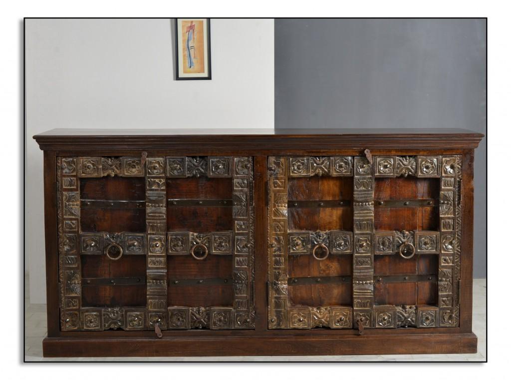 Kolonial Sideboard Schrank Kommode Almirah 180 Cm Recycling Holz