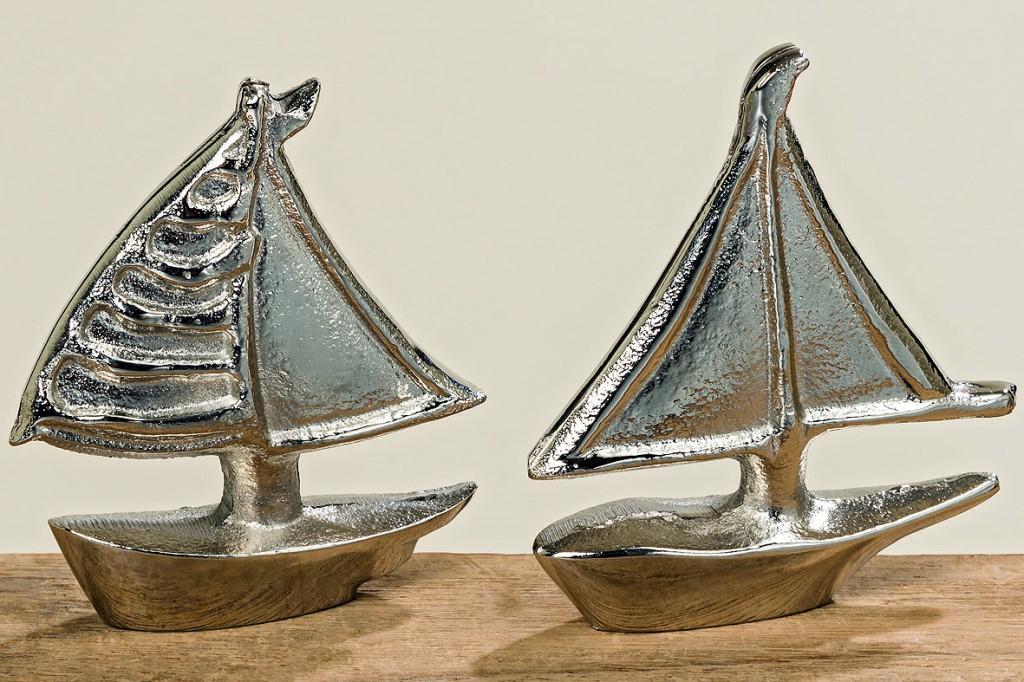 2er Set Skulptur Boot Silber Schiff Meer Strand Bad