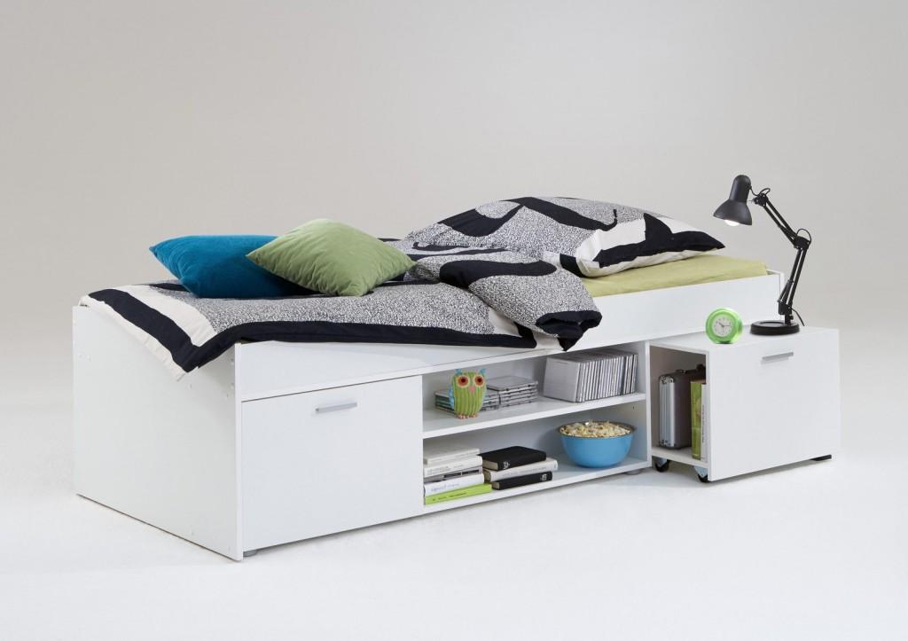 bett einzelbett jugendbett g stebett kinderbett carlo dekor wei mit nachttisch 90 x 200 cm. Black Bedroom Furniture Sets. Home Design Ideas