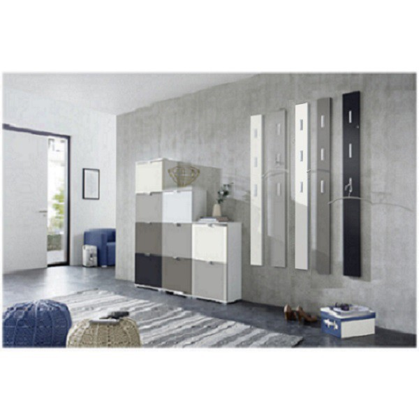 flurgarderobe super matt garderobe paneel wandgarderobe garderobenpaneel wei schwarz vanille. Black Bedroom Furniture Sets. Home Design Ideas