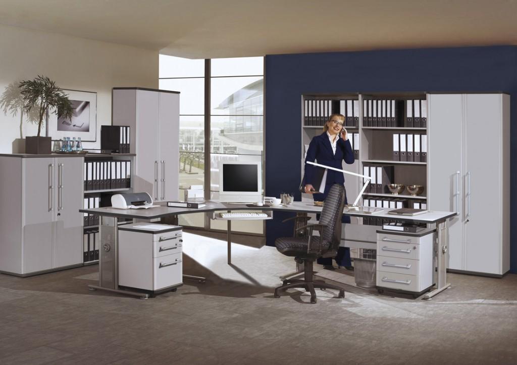 Pro Büroprogramm / Büromöbel-Set komplett 11-tlg. in grau ...