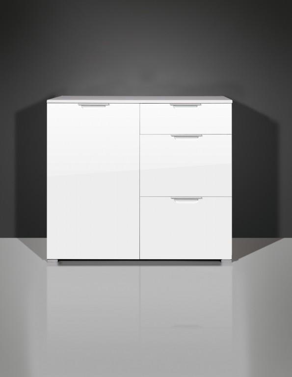 vento kommode anrichte mit 1 t r und 3 schubladen in wei hochglanz 96 x 85 x 40 diele flur. Black Bedroom Furniture Sets. Home Design Ideas