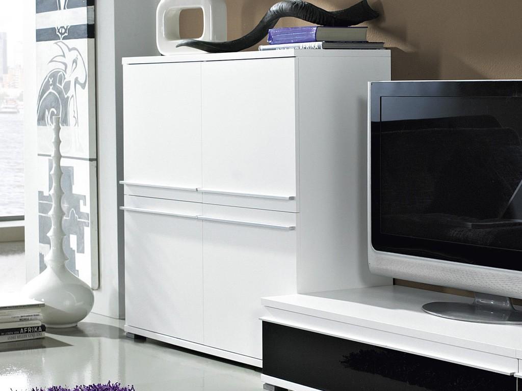 Steel Wohnzimmer-Kommode mit 4 Türen in weiß 100 x 100 x 40 ...
