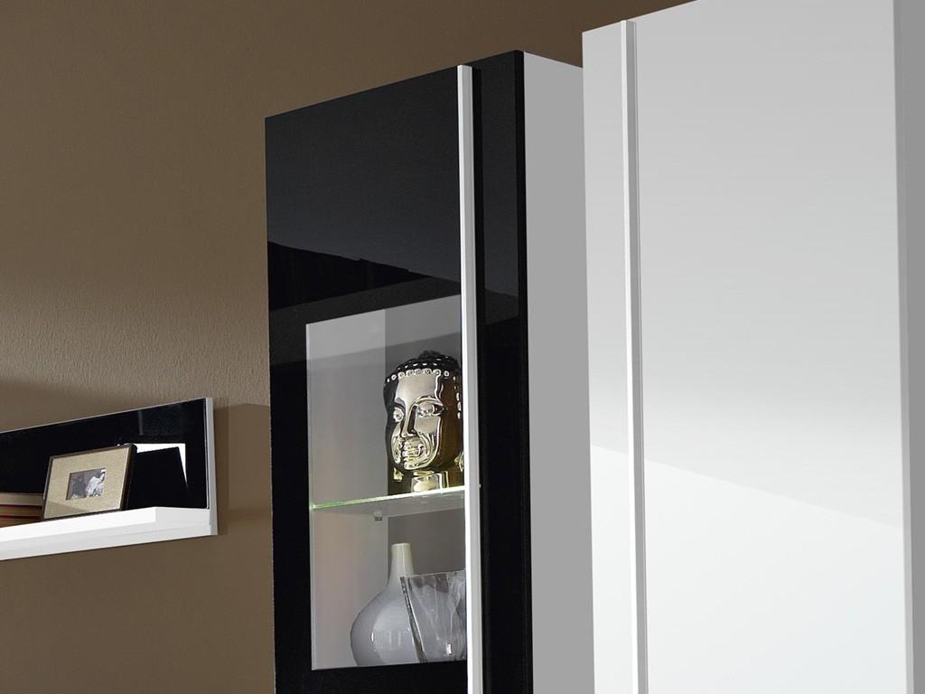 Hangevitrine Weis Hochglanz ~ Steel wohnzimmer programm 8 tlg. in weiß schwarz mit glas fronten