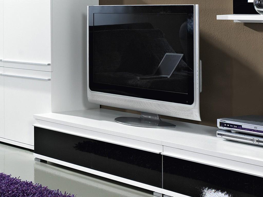 Steel TV-Unterschrank / TV-Board in weiß / schwarz Glas-Front 100 x ...