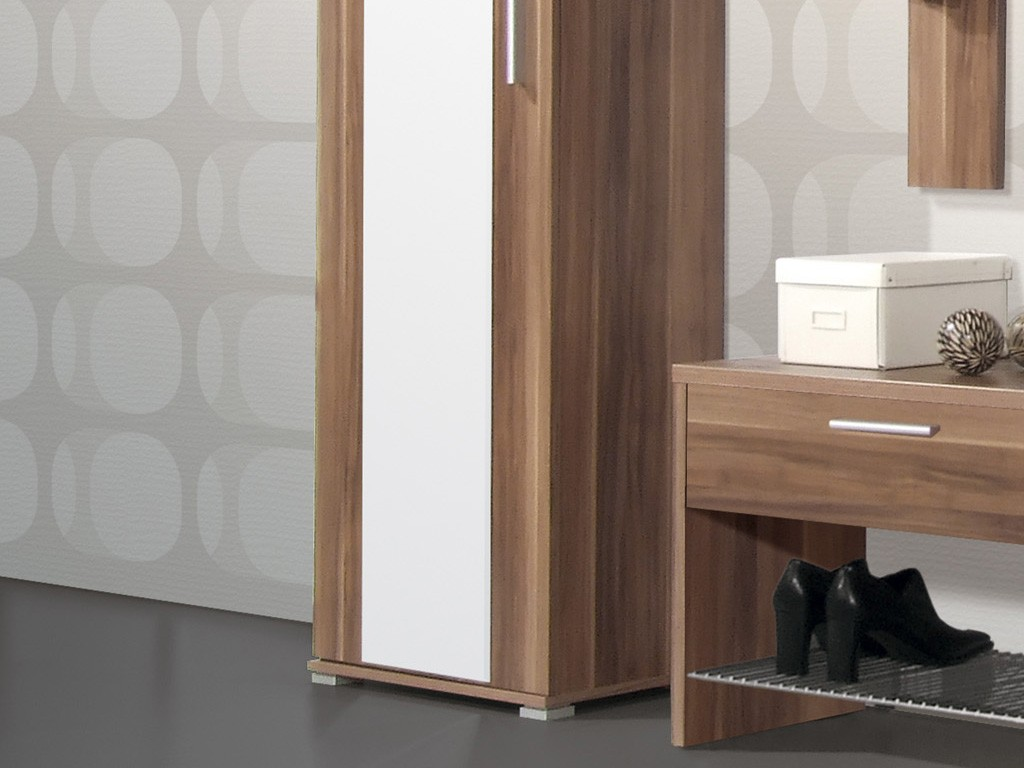 Prima kleiderschrank f r garderobe in walnuss 55 x 200 x for Garderobe 35 cm