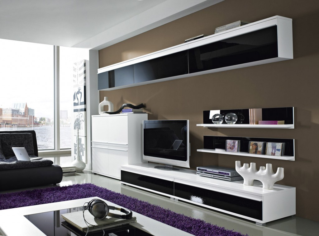 Steel Wohnzimmer-Programm 8-tlg. in weiß / schwarz mit Glas-Fronten ...